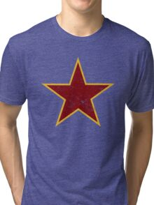 Vintage look Red and Gold Star Tri-blend T-Shirt
