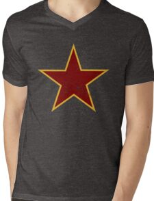 Vintage look Red and Gold Star Mens V-Neck T-Shirt