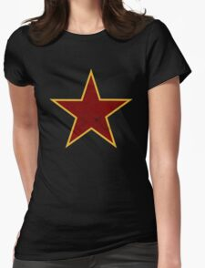 Vintage look Red and Gold Star Womens Fitted T-Shirt