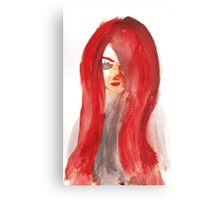 Red Lady Portrait Canvas Print