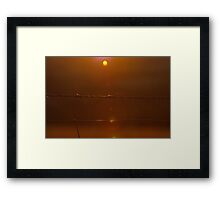 barb wire at sunset Framed Print