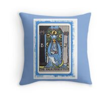 High Priestess Blue Tarot Card Fortune Teller Throw Pillow