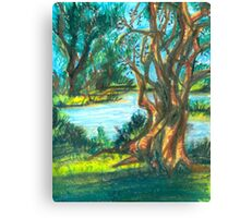 small pond with trees Canvas Print