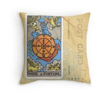 Wheel Of Fortune Blue Tarot Post Card Throw Pillow