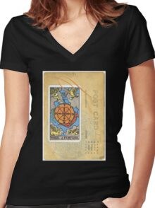 Wheel Of Fortune Blue Tarot Post Card Women's Fitted V-Neck T-Shirt