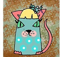 Chloe the cat has a flower in her hair Photographic Print