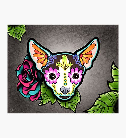 Day of the Dead Chihuahua in Moo Sugar Skull Dog Photographic Print