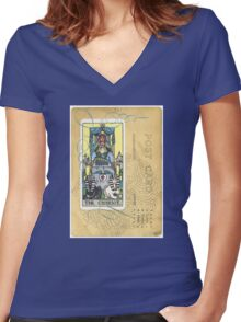 The Chariot Tarot Post Card Women's Fitted V-Neck T-Shirt