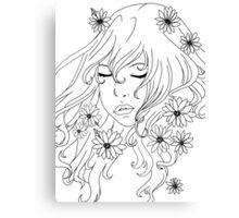 Lady & flowers Canvas Print