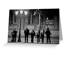 Anges Urbains attendant un taxi céleste - Cathédrale Notre-Dame de Paris Greeting Card