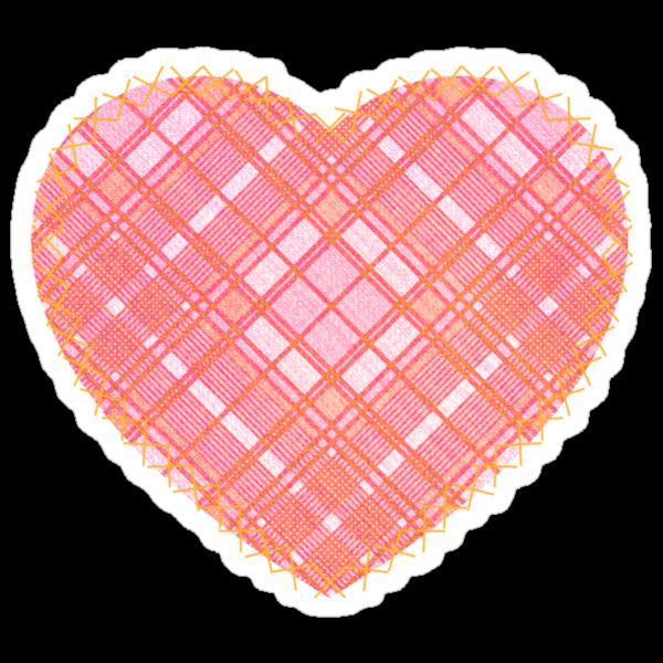 Faded Pink Tartan Heart by Chuffy
