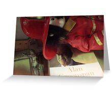 Crucifix, Greenspan, Toy Fireman, Thrift Store Misc. shelf Greeting Card