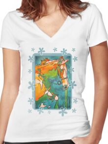My Little Pony ( Jade and Tan) Women's Fitted V-Neck T-Shirt