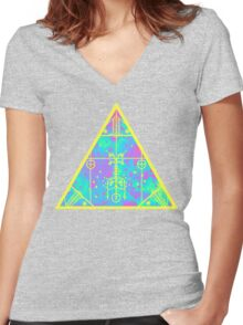 cool electric triangular space Women's Fitted V-Neck T-Shirt
