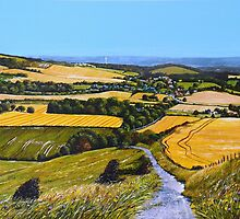 Harvest time over Glynde by Paula Oakley