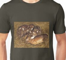 baby rabbits in thier nest art Unisex T-Shirt
