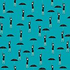 Seamless background with umbrella girl by Richard Laschon