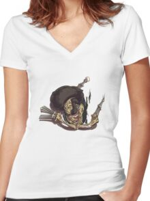 Beware of the Afro Ninja Zombie Women's Fitted V-Neck T-Shirt