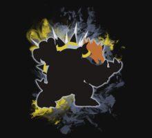 Super Smash Bros. Black/Grey Bowser Silhouette Kids Tee