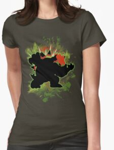 Super Smash Bros. Green Bowser Silhouette Womens Fitted T-Shirt