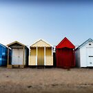 Beach Huts; all in a row. Southend, Essex, UK by Andrew Briffett