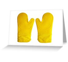 Oven Gloves Yellow Greeting Card