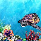 Sea Turtle - Seascape Watercolour by Brazen Edwards
