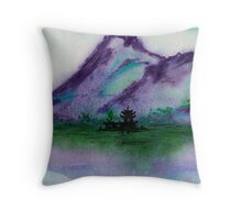 Fishing at Dawn - Chinese Landscape Sumi-e Throw Pillow