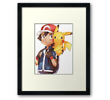 Satoshi & Pikachu | Ash & Pikachu Framed Print