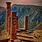 Greece. Delphi. The Ruins of Temple of Apollo. by vadim19
