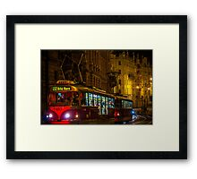 Tram in Prague Night, Czech Republic Framed Print