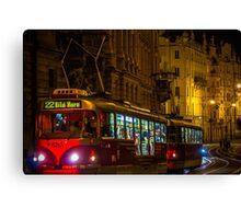 Tram in Prague Night, Czech Republic Canvas Print