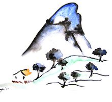 Chinest Hut - Landscape Sumi-e by Brazen Edwards