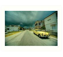 Yellow storm car  Art Print