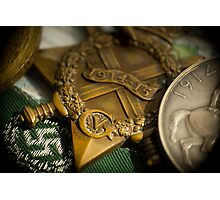 WW1 medals over atlas Photographic Print