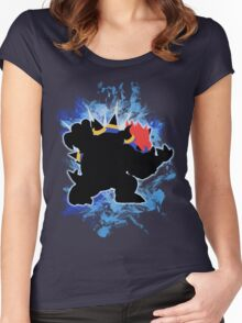 Super Smash Bros. Blue Bowser Silhouette Women's Fitted Scoop T-Shirt