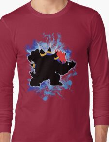Super Smash Bros. Blue Bowser Silhouette Long Sleeve T-Shirt