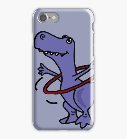 Hilarious Blue T-Rex Dinosaur and Hula Hoop iPhone Case/Skin