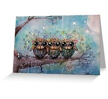three little night owls Greeting Card