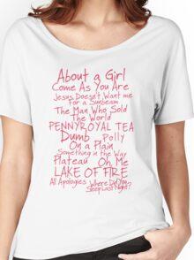 Nirvana Unplugged Set List [PINK TEXT] Women's Relaxed Fit T-Shirt