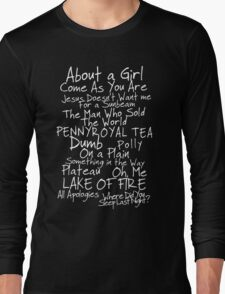 Nirvana Unplugged Set List [WHITE TEXT] T-Shirt
