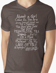 Nirvana Unplugged Set List [WHITE TEXT] Mens V-Neck T-Shirt