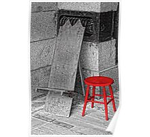 RED STOOL - GREY GRANITE Poster