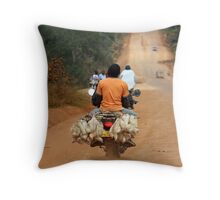 chickens day out Throw Pillow