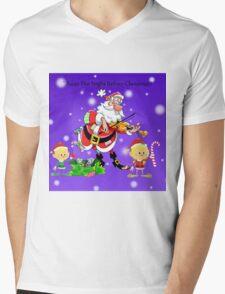 Santa Claus with Elves Mens V-Neck T-Shirt