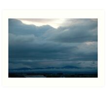 Low blue clouds and mist Art Print