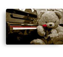 TEDDY BEAR PIANO ROSE FLOWER Canvas Print