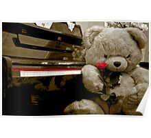 TEDDY BEAR PIANO ROSE FLOWER Poster
