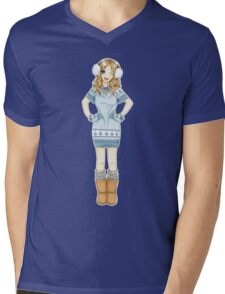 Winter Girl Mens V-Neck T-Shirt