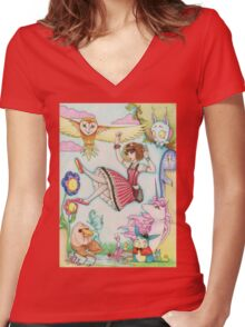 Falling into Fantasy Women's Fitted V-Neck T-Shirt